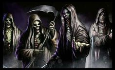 The Four Horsemen by SamDenmarkArt on DeviantArt Grim Reaper Art, Don't Fear The Reaper, Grim Reaper Pictures, Badass Skulls, Fear Of The Dark, Dark Wings, Horsemen Of The Apocalypse, Dark Pictures, Angel Of Death