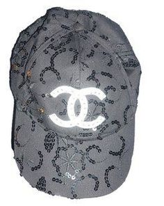 aa24d43628cb1 Chanel NWOT Chanel Black and Sequined Baseball cap