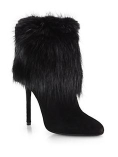 Prada - Suede & Fur Ankle Boots