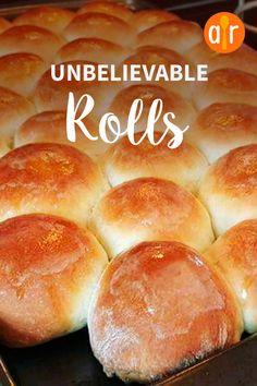 Unbelievable Rolls Recipe - Best of Breads - Bread Recipes Sweet Dinner Rolls, No Yeast Dinner Rolls, Homemade Dinner Rolls, Dinner Rolls Recipe, Easy Homemade Rolls, Homemade Breads, Dinner Rolls Easy, Best Dinner Roll Recipe, Homemade Biscuits