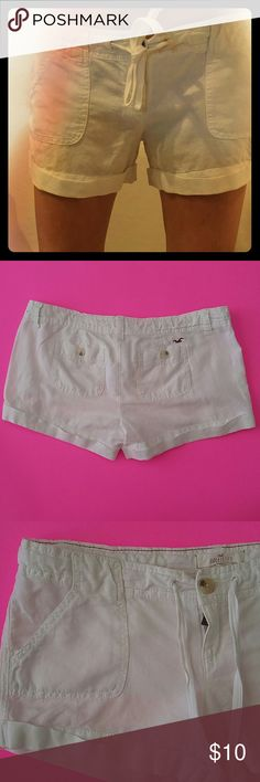 Hollister white linen low rise cuffed shorts Brand: Hollister Size: 3 (see measurements though) color: white Material: 58% Linen 42% Cotton These are in Great Pre owned condition. They are zip up with button front closure. Then a drawstring. There are side entry front pockets. Cuffed. Two back pockets with a button closure. There is a logo bird next to one of the pockets. Belt loops.  All measurements are Approximate:  Waist: 34 inches Rise: 6 inches Inseam: 2-3 inches All my items come from…