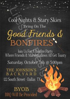 Fall Bonfire Party, Backyard Bonfire Party, Bonfire Birthday Party, Bonfire Parties, Bonfire Ideas, Bonfire Quotes, Sweet 16 Bonfire, 16th Birthday, Fire Party Ideas