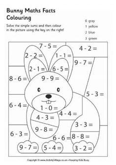 Bunny Maths Facts Colouring Page Easter Puzzles, Puzzles For Kids, Math For Kids, Math Coloring Worksheets, Easter Worksheets, School Worksheets, Math Sheets, Fun Math, Kids Colouring Pages