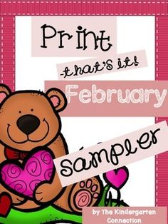 """This is a sampler of the February """"Print - That's It!""""You will receive 4 printable pages from the pack.The full pack contains 53 printable pages for February and can be viewed and purchased HERE"""