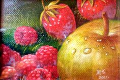 Buy The author's picture of Raspberry, strawberry and Apple. - bright red, green