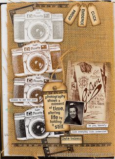 Layers of ink - A Moment in Time Journal Page with Darkroom Door Camera Eclectic Stamp