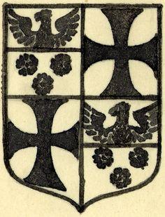 NON EST MORTATE QUOD OPTO -- Dessin des armes de Paul Petau (écartelé : aux 1 et 4, d'azur à trois roses d'argent, au chef d'Empire ; aux 2 et 3, d'argent à la croix pattée de gueules). -- Paris, BNF, lat. 1671, reliure.