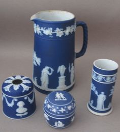 Wedgwood jasperware-- absolute favorite thing to collect! Dad used to bring pieces back from England for Mom, so I guess it's sentimental as well :) Wedgewood China, Wedgwood Pottery, Clubhouse Design, Blue And White China, Dark Blue, Cobalt Glass, China Patterns, Vintage Pottery, China Dinnerware