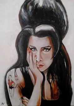 Amy Winehouse olieverf op linnen Brenda Vrijma