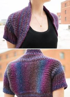 Free Knitting Pattern for Prima Shrug - Free with free Creativebug trial. This ballet-inspired shrug is knit all in one piece so there is no seaming. Designed by Maggie Pace to showcase multi-color yarn though you can use a solid color too. Pattern and instructional video class available for free with a free trial at Creativebug.