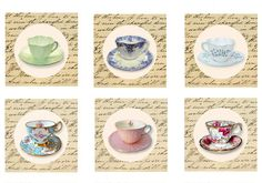 Tea Cup Toppers Instant download Tags Vintage Cup by sssstudio, ETSY _ great shop for TEA Party items! !