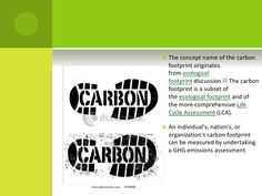 The concept name of the carbon footprint originates fromecological footprintdiscussion.[3]The carbon footprint is a sub...
