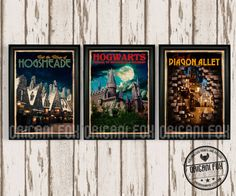Harry Potter Poster Collection - Retro Travel Prints - Vintage style - Includes 3 Printed Posters