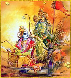 "'Arjuna: ""Maybe we should think of something else, O Keshava."" Krishna: ""You don't run away from Adharma, dear Partha, you crush it. Arte Krishna, Krishna Radha, Lord Shiva Painting, Krishna Painting, Indian Gods, Indian Art, Shri Hanuman, Lord Shiva Family, Pagan Gods"