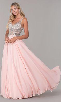 V-Neck Sleeveless Long Beaded-Bodice Prom Dress 49be49b8e9bf