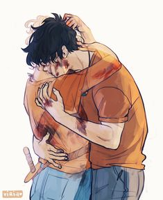 "That's rough, buddy. Credit goes to Viria. Viria- "" An AU in which Annabeth died and Percy gets to see her one last time"" Percy Jackson Art, Drawings, Fan Art"