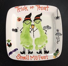 Halloween footprint plate painted at Pottery WorX Russellville