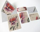 Modern Floral Wedding Invitation Suite - Kraft Paper w/ Belly Band - Poppy Flower - Watercolor