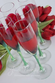 Red rose bud champagne flutes hand painted