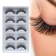 f9cfed35109 Amazon.com : DAODER 5 Pairs 3D Mink Eyelashes False Lashes Long Extension Reusable  Handmade Natural Look Faux Mink Lashes Strip Wispy Fake Eyelashes : ...