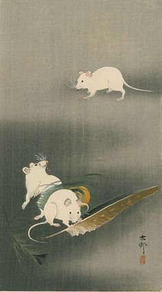 Ohara Koson Three White Mice 1900. I don't think I've ever encountered this artist, and loving his work. Thank you Pinterest & Rebecca Marsh!