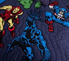 Inspire action-packed dreams with this beautifully quilted Marvel Quilt. Your little hero's favorite characters – Iron Man, the Hulk, Captain America, Thor and Black Panther – spring out of the comic book and onto their bedding w… Marvel Kids, Marvel Heroes, Marvel Characters, Boys Superhero Bedroom, Marvel Bedding, Green Colour Palette, Dark Material, Twin Quilt, Queen Quilt