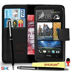 HTC Desire 610 Premium Leather Black Wallet Flip Case Cover Pouch  Ball Pen Touch Stylus PenRED DS Screen Protector  Polishing Cloth SVL4 BY SHUKAN WALLET BLACK -- Read more reviews of the product by visiting the link on the image.