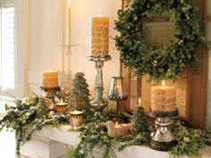 Go transitional. Create a base of winter greenery and lights, then layer on the Christmas. After the holidays, switch out the Christmas music candles for plain ones and pack away the trees and stockings. Leave the flocked evergreen garland, shiny votives, crystal and silver candlesticks and even the boxwood wreath