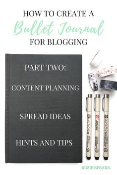 Ideas for different spreads for a blogging Bullet Journal!