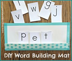 DIY Word Building Mat- Free letter cards for making your own classroom sets. adapt to putting abc and in order. Kindergarten Centers, Phonics Activities, Kindergarten Literacy, Emergent Literacy, Literacy Centers, Teaching Reading, Fun Learning, Student Learning, Teaching Ideas