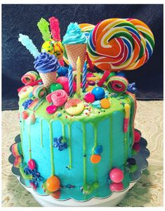 Candy Theme Cake, Candy Birthday Cakes, Candy Cakes, Birthday Cake Girls, Colorful Birthday Cake, 4th Birthday, Boys Bday Cakes, Party Candy, Turtle Birthday
