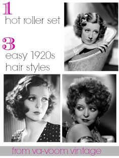 1 hot roller set 3 easy 1920s hair styles from Va-Voom Vintage