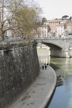 River Tiber at Ponte Vittorio Emanuele II, Rome, Italy