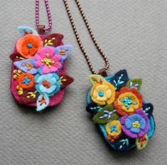 felt embroidered necklace