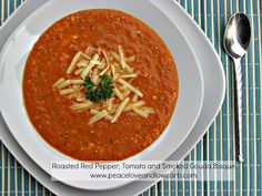 Peace, Love, and Low Carb: Roasted Red Pepper, Tomato and Smoked Gouda Bisque. I made this recipe after having a smoked gouda roasted red pepper soup at a restaurant. This was definitely a good match!