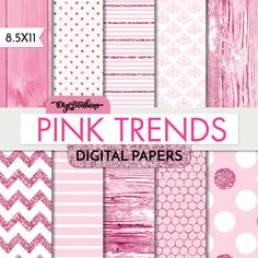 Pink Pink Glitter and Wood Scrapbook Digital Paper by DigiBonBons