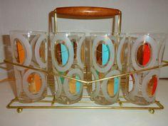 VTG MID Century Modern Swanky FRED PRESS Glasses Polka Dot Gold Barware Rock 4ct