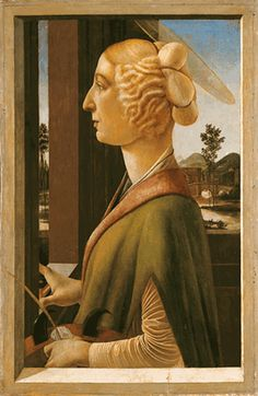 IWoman with attributes of Saint Catherine, so called Catherina Sforza Sandro Botticelli, 1475  Sandro Botticelli     Italian Renaissance Painting - Look at hairstyle and clothing costume