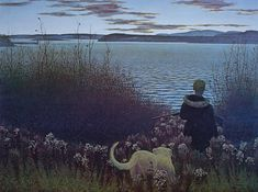 """""""Boy, Dog And St. John River"""" (1958) by Canadian artist Alex Colville.  Good example of how Colville's paintings can be beautiful but slightly unsettling..."""