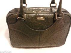 Maude Frizon Paris Leather Satchel, Purse Handbag, Ostrich Embossed Design