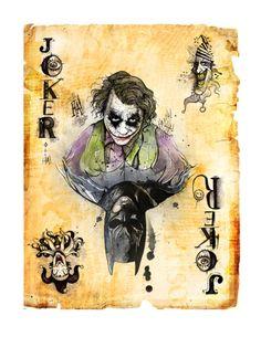 Batman: Joker card by illustrator Dave Mott (could be an alter-ego card, or hero/ villain card. Joker Playing Card, Playing Cards, Kings & Queens, Joker Batman, Batman Joker Tattoo, Joker Card Tattoo, Jokers Wild, Heath Ledger, Fanart
