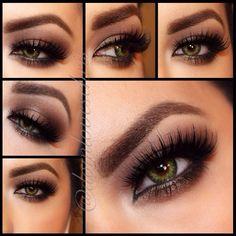 Sexy brown smokey eye on green eyes <3