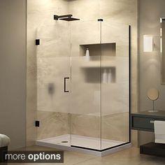 Dreamline Unidoor Plus 53 In D X 72 H Hinged Shower Enclosure Half Frosted Gl Door Oil Rubbed Bronze Finish Hardware