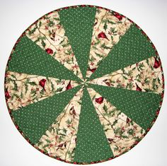Christmas Quilted Table Topper, Reversible Circular Holiday Table Mat, Winter Birds and Holly Christmas Table Quilt, Quiltsy Handmade by VillageQuilts on Etsy Etsy Christmas, Handmade Christmas, Holly Christmas, Patchwork Table Runner, Quilted Table Runners, Xmas Tablecloths, Xmas Table Runners, Round Table Covers, Winter Table