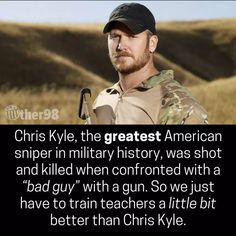 Chris Kyle is an American hero who helped veterans with gun therapy and that is how the emotionally unstable person was able to kill Kyle. There has to be a way for a conversation where we can honor the memory of people like Kyle and remove guns from people who will harm us and our children!!! RIP Kyle