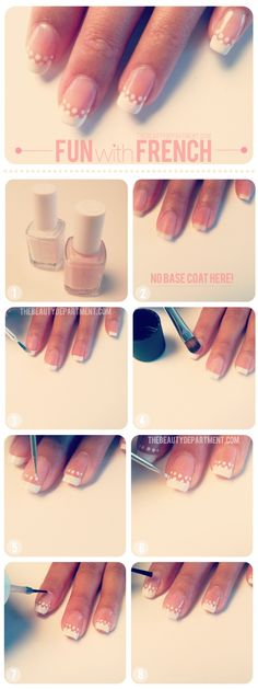 Wedding mani maybe? Heres a simple + chic spin on the classic french mani using your dotting tool. xo