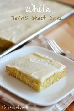 White Texas Sheet Cake - I've pinned a similar one before, but this one actually has the directions for making the frosting!! Yay!