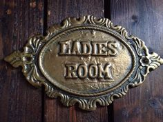 LADIES ROOM Vintage Brass Restroom Powder WC Bathroom Toilet Door Sign