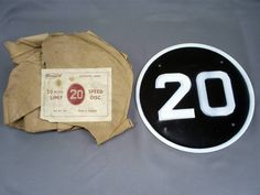 RARE VINTAGE WINGARD/CHICHESTER ENAMEL 20 MPH LIMIT SPEED DISC/SIGN REF No 720