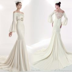 Off shoulder wedding dress with romantic style bishop sleeves from Franc Sarabia. Unusual.